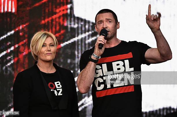 Deborra-Lee Furness and Hugh Jackman speak onstage at the 2014 Global Citizen Festival to end extreme poverty by 2030 in Central Park on September...