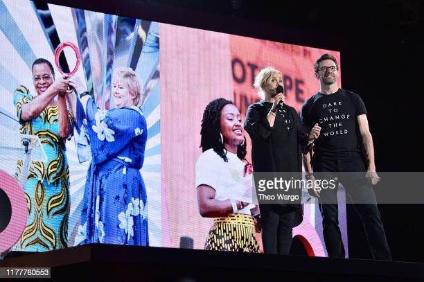 Deborralee Furness and Hugh Jackman speak onstage during the 2019 Global Citizen Festival Power The Movement in Central Park on September 28 2019 in...