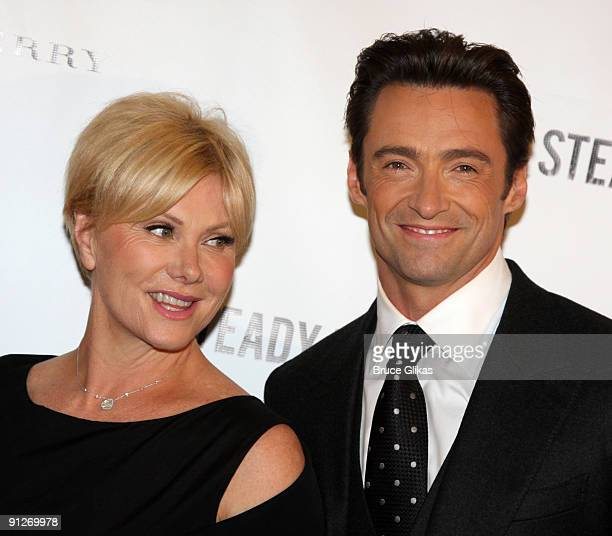 DeborraLee Furness and husband Hugh Jackman attend the opening night afterparty for A Steady Rain on Broadway at The Harvard Club on September 29...