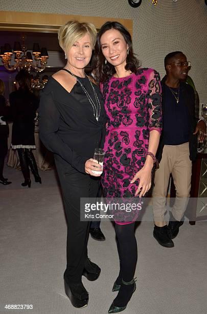 Deborra-Lee Furness and Wendi Murdoch attend The New York Collection by Martin Katz reception at The New York Palace on February 11, 2014 in New York...