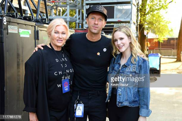 Deborralee Furness Chris Martin and Rachel Brosnahan attend the 2019 Global Citizen Festival Power The Movement in Central Park on September 28 2019...