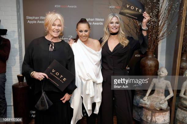Deborralee Furness Donna Karan and Christie Brinkley attend the Stephan Weiss Apple Awards at Urban Zen on October 24 2018 in New York City