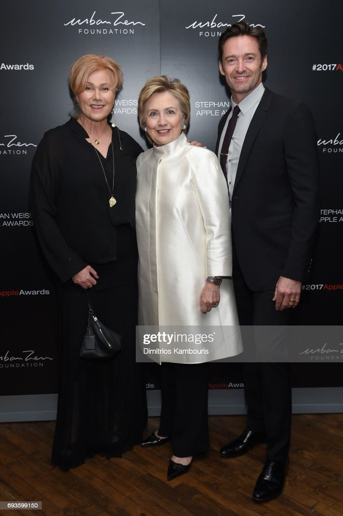 Deborra-Lee Furness, Hillary Rodham Clinton and Hugh Jackman attend the 2017 Stephan Weiss Apple Awards on June 7, 2017 in New York City.