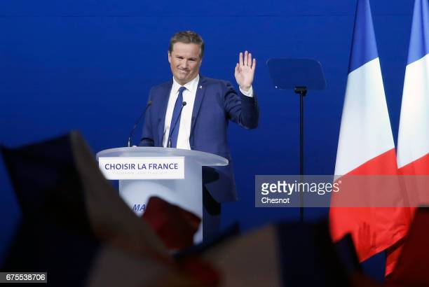 'Debout La France' group former candidate Nicolas DupontAignan delivers a speech during a campaign rally on May 01 2017 in Villepinte France Le Pen...
