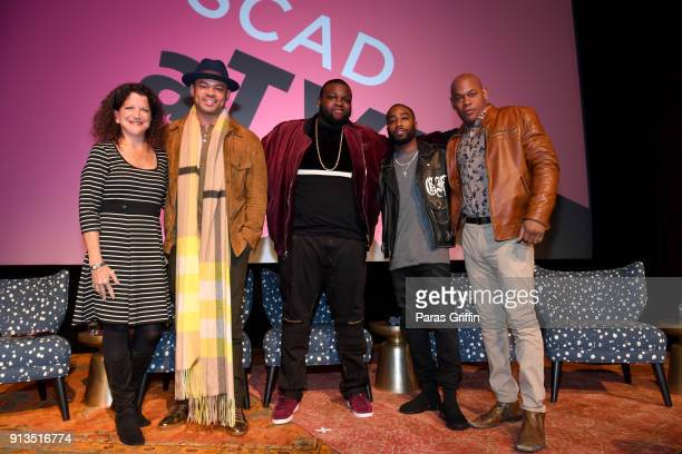 Debra Birnbaum Anthony Hemingway Wavyy Jonez Marcc Rose and Bokeem Woodbine attend during a screening and QA for 'Unsolved The Murders of Tupac and...
