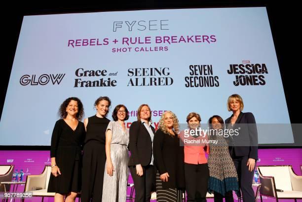 Debra Birnbaum Liz Flahive Carly Mensch Cindy Holland Marta Kauffman Gloria Allred Veena Sub and Melissa Rosenberg attend the Rebels and Rule...
