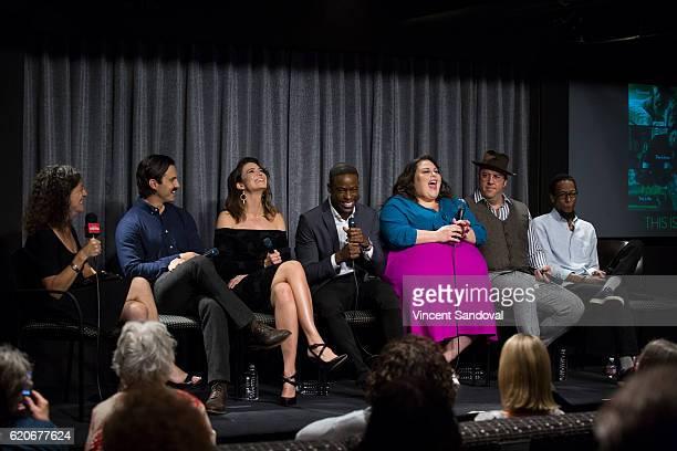 Debra Birnbaum of Variety and Actors Milo Ventimiglia Mandy Moore Sterling K Brown Chrissy Metz Chris Sullivan and Ron Cephas Jones attend SAGAFTRA...