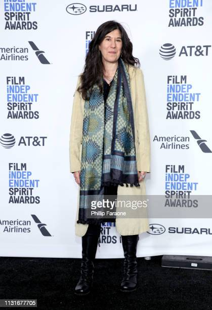 Debra Granik winner of the Bonnie Award poses in the press room during the 2019 Film Independent Spirit Awards on February 23 2019 in Santa Monica...