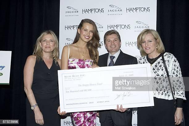 Debra Halpert publisher of Hampton's Magazine model Petra Nemcova Gary Flom of Jaguar and Niche group publisher Laurie Burgess pose after presenting...