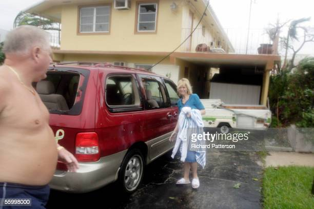 Debra Heffington looks upset because of the loss of her car and possessions from the power of Hurricane Wilma as the eye passes on October 24 2005...