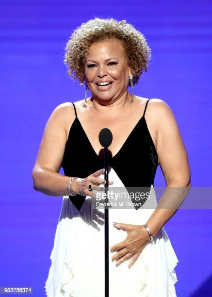 Debra L Lee accepts the BET Ultimate Icon Award onstage at the 2018 BET Awards at Microsoft Theater on June 24 2018 in Los Angeles California