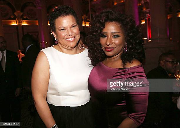 Debra L Lee and Chaka Khan attend the 2013 Debra Lee Pre BET Honors Cocktails & Dinner at The Library of Congress on January 11, 2013 in Washington,...