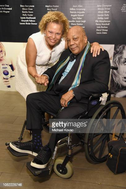 Debra L Lee and Quincy Jones attend ELLE's 25th Annual Women In Hollywood Celebration presented by L'Oreal Paris Hearts On Fire and CALVIN KLEIN at...