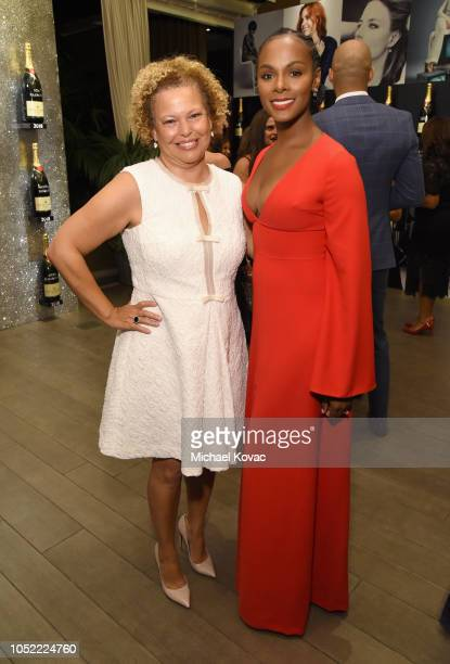 Debra L Lee and Tika Sumpter attend ELLE's 25th Annual Women In Hollywood Celebration presented by L'Oreal Paris Hearts On Fire and CALVIN KLEIN at...