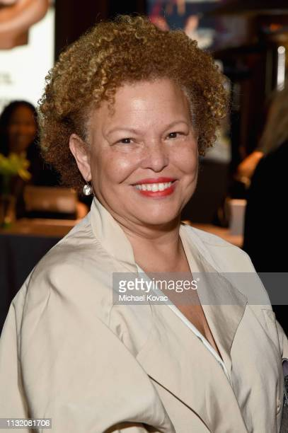 Debra L Lee celebrates with Land Rover at The Broad museum's opening celebration of its new art exhibition Soul of a Nation Art in the Age of Black...