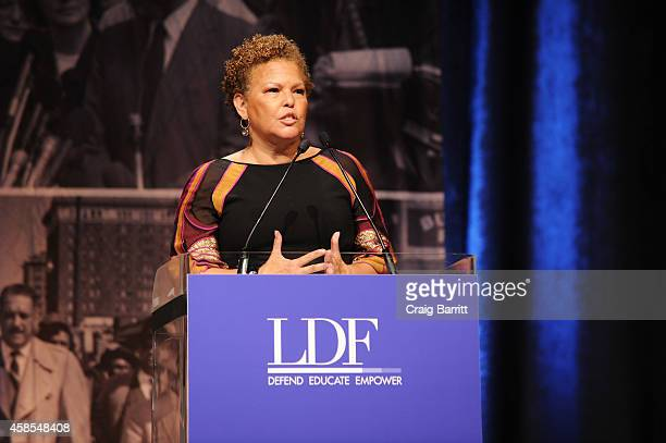 Debra L Lee speaks onstage during the Legal Defense Fund Annual Gala to commemorate the 60th anniversary of Brown V Board of Education at the New...