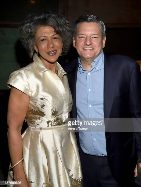 Debra Langford and Netflix Chief Content Officer Ted Sarandos attends Netflix's NAACP Image Awards Nominee Celebration at Hinoki & The Bird on March...