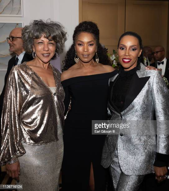 Debra Langford Angela Bassett and Jume Ambrose attend the ICON MANN Power 150 Dinner at Waldorf Astoria Beverly Hills on February 21 2019 in Beverly...