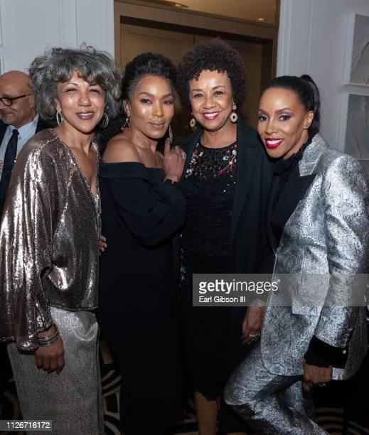 Debra Langford Angela Bassett Cheryl Boone Isaacs and June Ambrose attend ICON MANN Power 150 Dinner at Waldorf Astoria Beverly Hills on February 21...