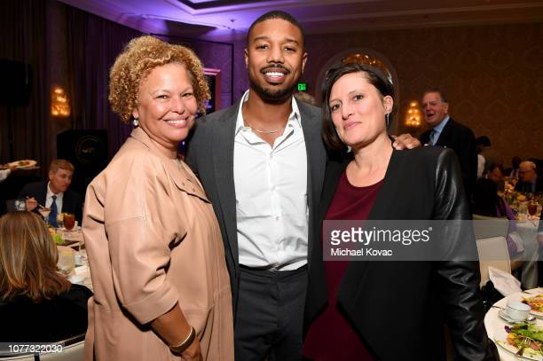 Debra Lee actor Michael B Jordan and cinematographer Rachel Morrison attend the 19th Annual AFI Awards at Four Seasons Hotel Los Angeles at Beverly...