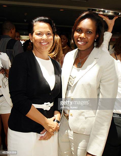Debra Lee of BET and Rhonda Mims during The Make It Happen Foundation and ING Power Brunch Hosted by Kevin Liles at Sunset Tower Hotel Pool in...