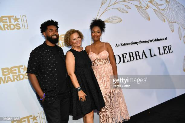 Debra Lee poses with her children Quinn Coleman and Ava Coleman at the Debra Lee PreBET Awards Dinner at Vibiana on June 20 2018 in Los Angeles...