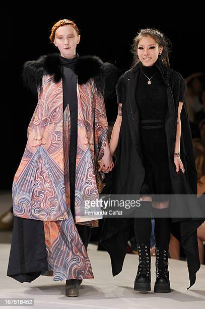 Debra Lin walks the Debra Lin runway at the 114th annual Pratt Institute fashion show at Center 548 on April 25 2013 in New York City