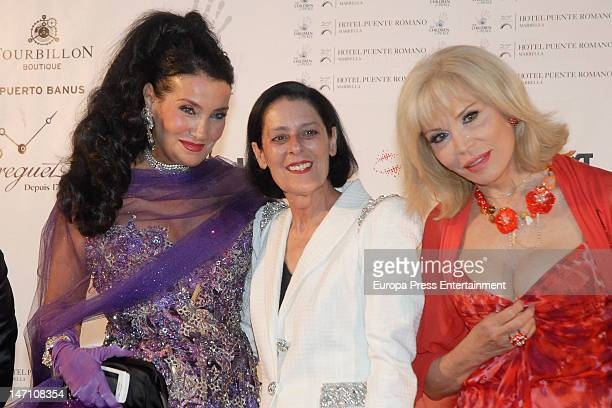 Debra Mace Lamia Khashoggi and Amanda Lear attend the concert of Sopranos Montserrat Caballe and Montserrat Marti for The Children for Peace at Hotel...