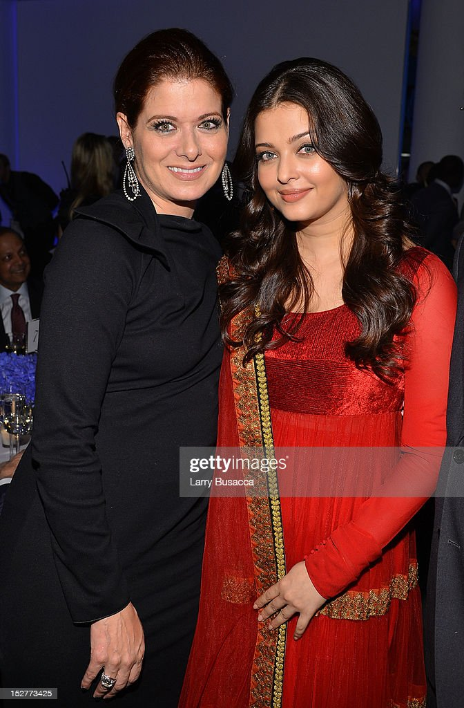 Debra Messing and Aishwarya Rai attend the United Nations Every Woman Every Child Dinner 2012 on September 25, 2012 in New York, United States.