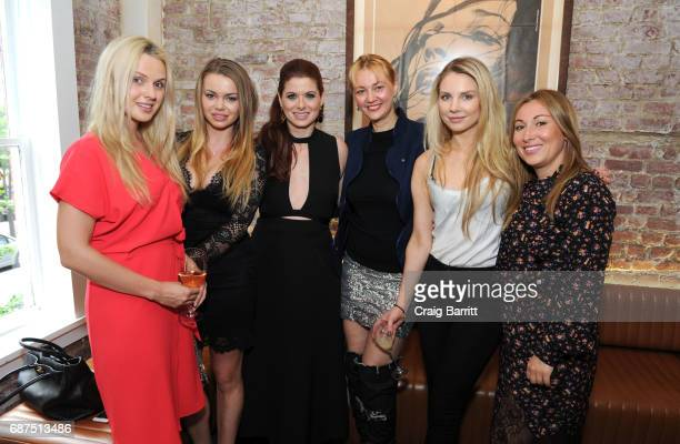 Debra Messing and Alisa Roever attend Haute Livings celebration of Debra Messing with Bertaud Belieu Rose at MAMO on May 23 2017 in New York City