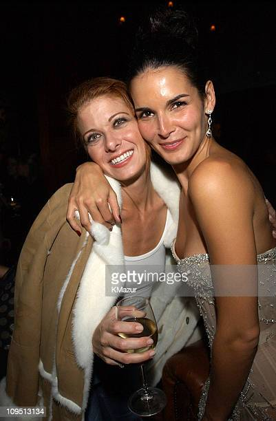 Debra Messing and Angie Harmon during 2002 VH1 Vogue Fashion Awards AfterParty at Hudson Cafeteria at Hudson Hotel in New York New York United States