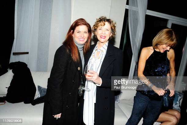 Debra Messing and Annette Bening attend The Cinema Society With Synchrony Bank And FIJI Water Host The After Party For Marvel Studios' 'Captain...