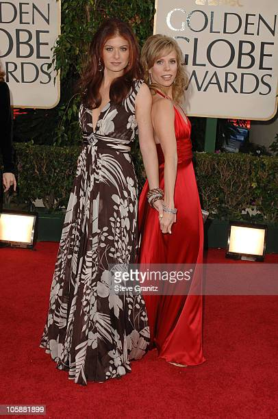 Debra Messing and Cheryl Hines during The 63rd Annual Golden Globe Awards Arrivals at Beverly Hilton Hotel in Beverly Hills California United States