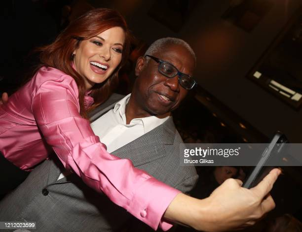 "Debra Messing and co-star Andre Braugher pose for a selfie at a photo call for the new play ""Birthday Candles"" on Broadway at The American Airlines..."