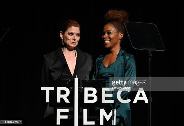 Debra Messing and DeWanda Wise speak during the Awards Night 2019 Tribeca Film Festival at BMCC Tribeca PAC on May 02 2019 in New York City
