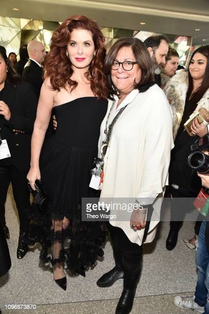 Debra Messing and Fern Mallis attend the Christian Siriano front row during New York Fashion Week The Shows at Top of the Rock on February 9 2019 in...