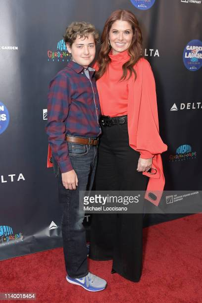 Debra Messing and her son Roman Walker Zelman attend the 2019 Garden Of Laughs Comedy Benefit at Madison Square Garden on April 02 2019 in New York...