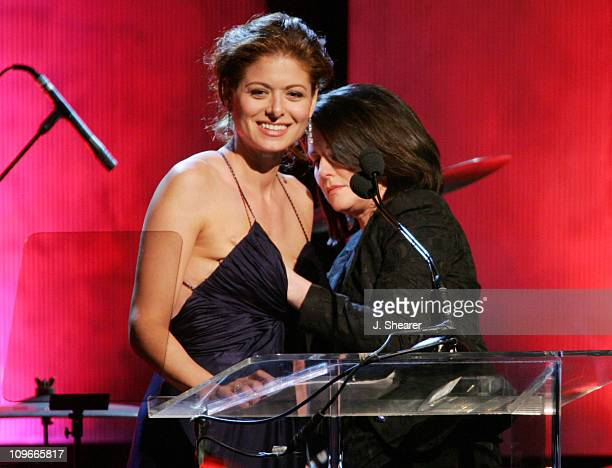 Debra Messing and Megan Mullally during 2005 Women In Film Crystal Lucy Awards Show at The Beverly Hilton Hotel in Beverly Hills California United...