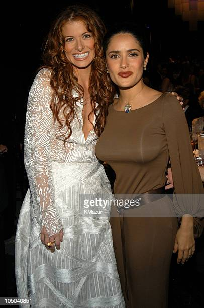 Debra Messing and Salma Hayek during Ninth Annual Screen Actors Guild Awards Backstage and Audience at The Shrine Auditorium in Los Angeles...