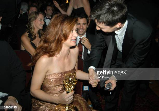 Debra Messing and Sean Hayes during 55th Annual Primetime Emmy Awards Backstage and Audience at The Shrine Auditorium in Los Angeles California...