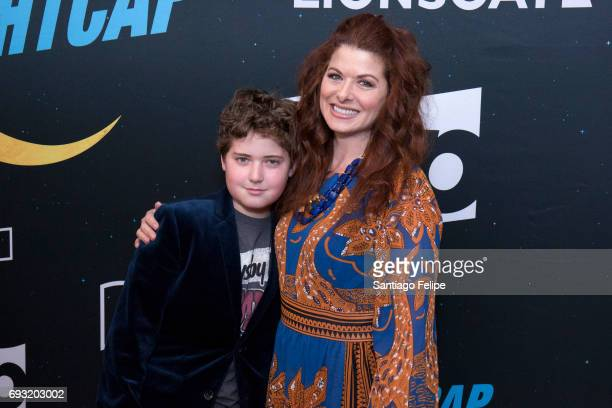 Debra Messing and son Roman Walker Zelman attend Nightcap Season 2 New York Premiere Party at Crosby Street Hotel on June 6 2017 in New York City