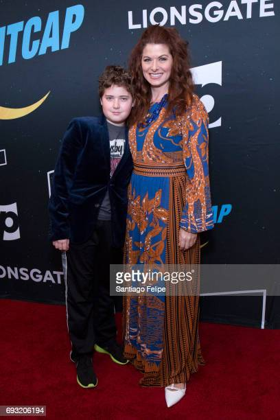 Debra Messing and son Roman Walker Zelman attend Nightcap Season 2 New York Premiere Party at Crosby Street Hotel on June 6 2017 in New York City