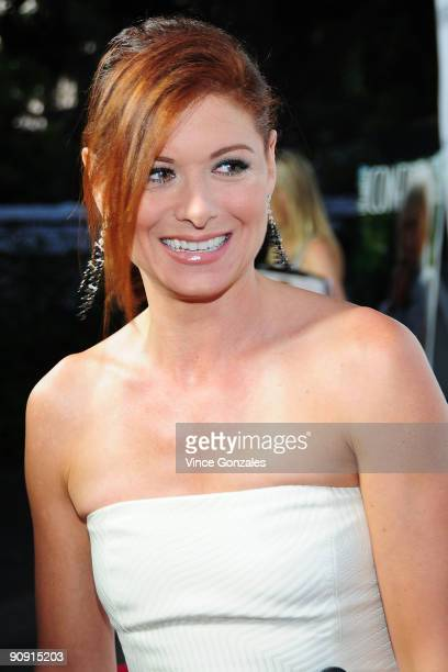 Debra Messing arrives at Los Angeles Confidential magazine's annual pre-Emmy party, hosted by Heidi Klum and Niche Media CEO Jason Binn, held at a...