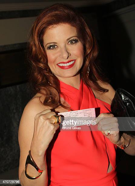 Debra Messing arrives at the opening night of Something Rotten on Broadway at The St James Theatre on April 22 2015 in New York City