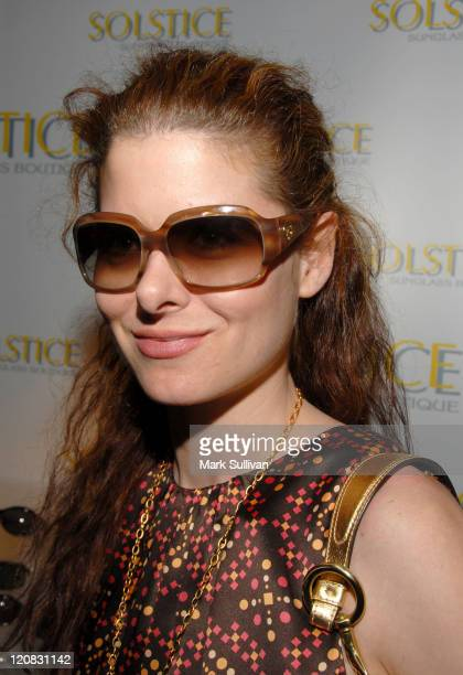 Debra Messing in Giorgio Armani 338S sunglasses during Solstice at the 2006 Pre-Oscar Luxury Lounge at Peninsula Hotel in Beverly Hills, CA, United...