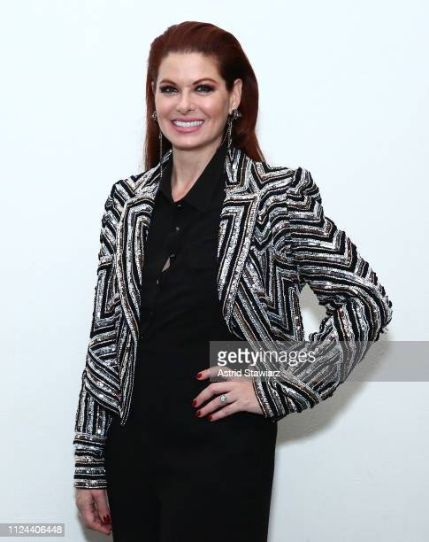Debra Messing poses backstage for TRESemme at the Naeem Khan show during NYFW on February 12 2019 in New York City