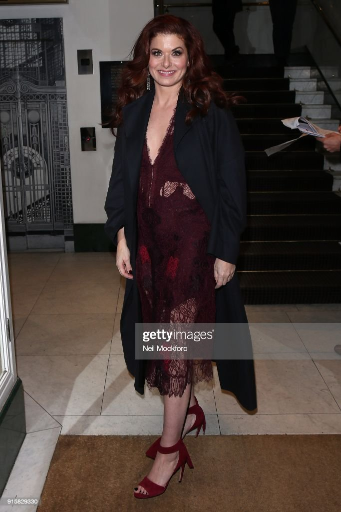 Debra Messing seen arriving at BAFTA for a Will & Grace screening on February 8, 2018 in London, England.