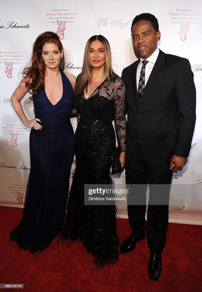 Debra Messing, Tina Knowles and guest attend Gabrielle's Angel Foundation Hosts Angel Ball 2013 at Cipriani Wall Street on October 29, 2013 in New York City.