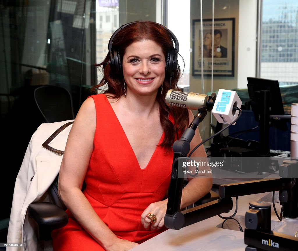 Debra Messing visits Sandra Bernhard's 'Sandyland' on Andy Cohen's exclusive SiriusXM channel Radio Andy at SiriusXM Studios on May 23, 2017 in New York City.