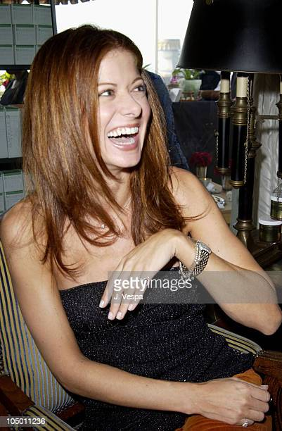 Debra Messing wearing a Tracy Allen pinky ring during The Cabana Beauty Buffet Day 1 at The Chateau Marmont Hotel in Los Angeles California United...